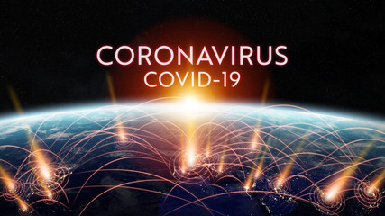Coronavirus Covid-19 pandemic spreading in the world between countries and infecting population 3D rendering