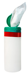 Anti bacterial sanitizing wipes in plastic canister.
