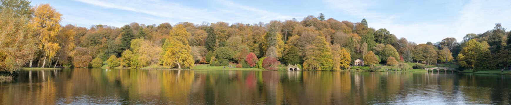 Panoramic photo of the autumn colours around the lake at Stourhead gardens in Wiltshire.