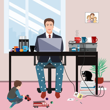 Businessman in a suit jacket and pajama bottoms working from home and his little son playing on the floor. Covid or coronavirus quarantine concept, self isolation. Vector illustration