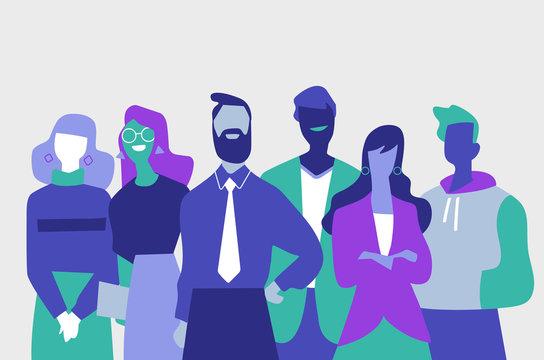 Squadra di professionisti di successo fatta di uomini e donne