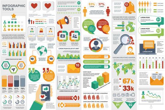 Social media network infographic elements set. Social marketing and promotion data visualization templates bundle. Color info graphics diagram, timeline chart, line and bar graph vector illustration.