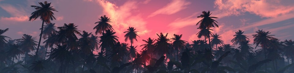 Palm trees against the sky, beautiful sky with clouds and palm trees, sunset over palm trees, tropical sunset, 3D rendering Fototapete
