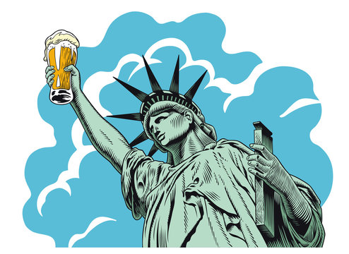 Statue of liberty holding a beer glass. Comic style engraving style vector illustration.
