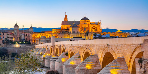 Wall Mural - Mezquita Cathedral and Roman Bridge in Cordoba, Spain