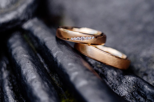 Wedding Ring Gold romantic sign of love and engagement