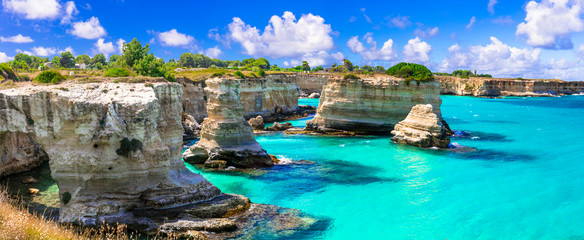 "Wonderful sea scenery in Puglia. ""Torre di Sant Andrea"" - famous rock formations near Otranto. Italy"