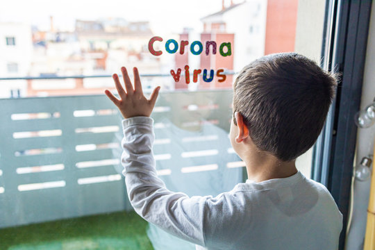 Little boy in confinement for the Coronavirus pandemic
