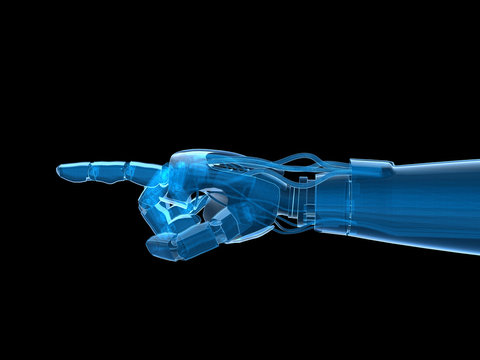 Hologram 3D of robot hand, isolate object. 3D rendering.