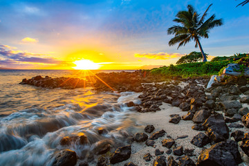 Fototapete - Beautiful sunset in Maui