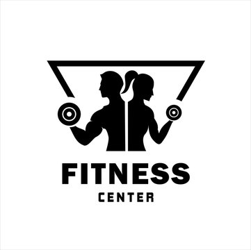 Fitness Center logo. Sport and fitness logo Design . Gym Logo Icon Design Vector Stock, or emblem with woman and man silhouettes. Woman and Man holds dumbbells. Isolated on white background