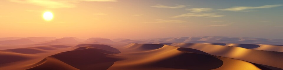 Sand desert at sunset, panorama of desert dunes under the sun, 3D rendering Wall mural