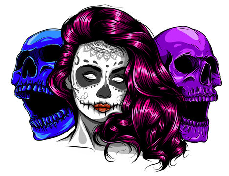 Vector hand drawn colorful illustration of Day Of The Dead Skull.Sugar skull girl. Skull sugar flower.