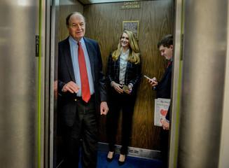 Sen. Richard Shelby (R-AL) and Sen. Kelly Loeffler (R-GA) get in an elevator after a luncheon meeting to wrap up work on coronavirus economic aid legislation