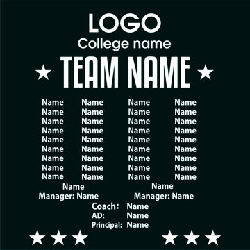 Sports team player names apparel design - VECTOR