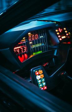 Retro futuristic design concept from 80s of future car interior