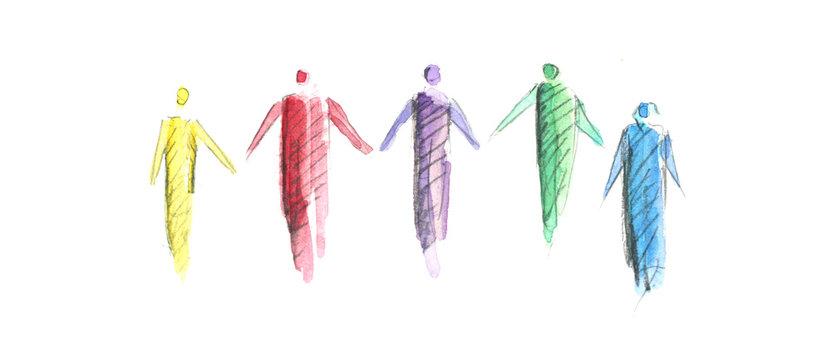 Kontaktbeschränkung, Menschen auf Distanz, Abstand halten, Corona, Coronavirus, Virus, Covid-19, Menschenkette, lockdown, Stay together, Hygieneregeln, AHA Regeln zur Bekämpfung der Pandemie