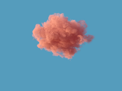 lonely pink cloud on blue sky