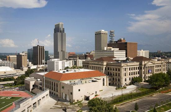 Aerial view of Omaha Nebraska skyline on summer day