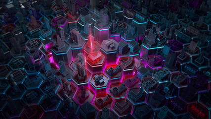 Abstract 3d city rendering with lines and digital elements on hexagonal basis. Technology smart city management internet of things IoT connection concept illustration.