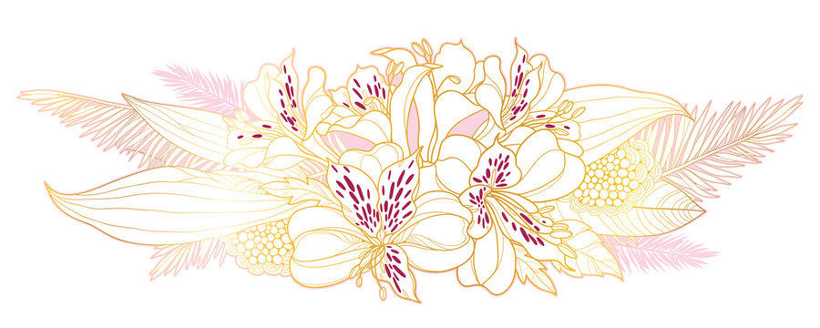 Bouquet of outline tropical Alstroemeria or Peruvian or Incas lily bunch and palm leaf in golden pink isolated on white background.