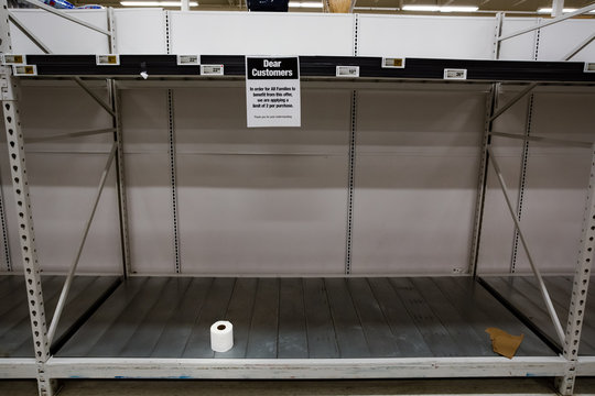 Panic buying hoarding concept related to the toilet paper shortage due to supply chain concerns related to the Coronavirus crisis.