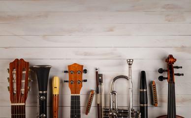 instruments in white wooden background