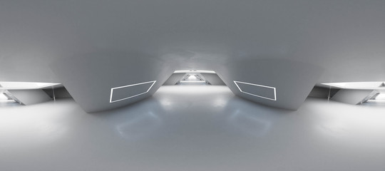 Full 360 degree equirectangular panorama hdri of modern futuristic white building interior 3d render illustration Fototapete