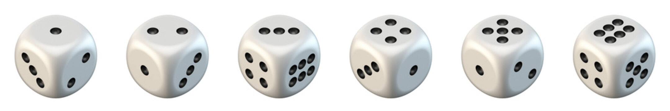 Six white game dices 3D