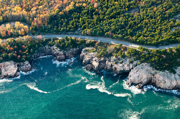 Aerial views of coastline surrounding Acadia National Park, Maine in autumn