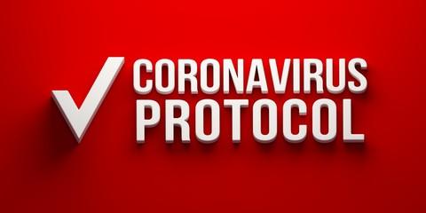 Coronavirus Protocol banner. 3D rendering illustration