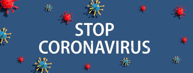 Stop Coronavirus theme with virus craft objects - flat lay