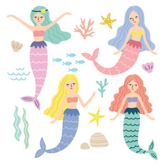 Foto op Canvas Zeemeermin Vector illustration of mermaid princess, fishes, starfish and under the sea items.