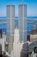Wall Mural - Aerial view of World Trade Towers, New York City, NY