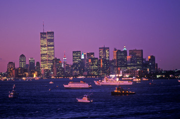Wall Mural - View of Manhattan at night from Deck of Aircraft Carrier Kennedy, New York City, NY