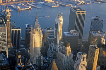 Fototapete - Aerial view of Wall Street, Financial District, New York City, NY