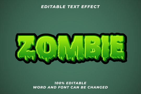 Zombie Halloween text style effect Premium Vector