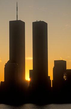World Trade towers at sunrise, New York City, NY