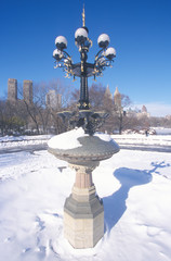 Wall Mural - Fountain with snow in Central Park, Manhattan, New York City, NY after winter snowstorm