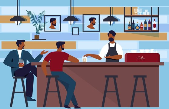 Bartender Lures Customers to Club in Barbershop. Men Sitting at Bar and Order Drinks. People Talk with Bartender about Choosing Hairstyles, Haircuts or Trends. Vector Illustration.