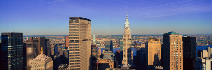 Wall Mural - Panoramic aerial view of Chrysler Building and Met Life Building, Manhattan, NY skyline