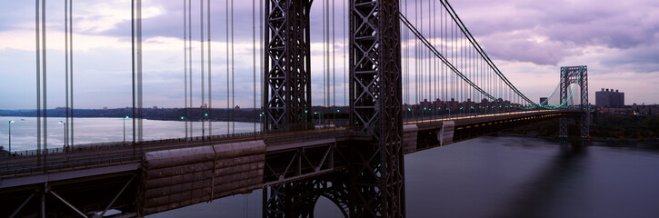 Fototapete - Panoramic view of George Washington Bridge over Hudson River from New York City, NY