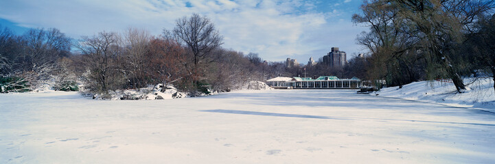 Wall Mural - Panoramic view of frozen pond in Central Park, Manhattan, New York City, NY after winter snowstorm
