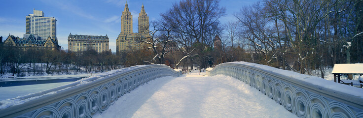 Wall Mural - Panoramic view of bridge over frozen pond in Central Park, Manhattan, NY on upper west side near Central Park West