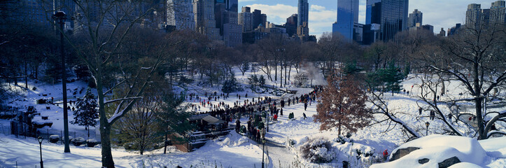 Wall Mural - Panoramic view of ice skating Wollman Rink in Central Park, Manhattan, New York City, NY after winter snowstorm