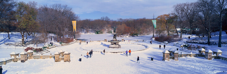 Fototapete - Panoramic view of water fountain covered with fresh winter snow in Central Park, Manhattan, New York City