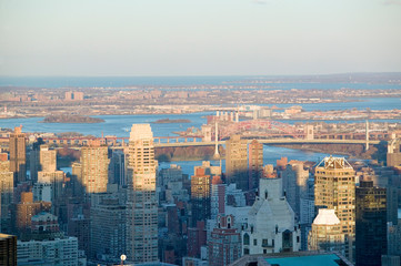 Fototapete - Panoramic views of New York City at sunset from Rockefeller Square ÒTop of the RockÓ New York City, New York