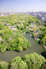 Wall Mural - Aerial view of Central Park in spring near Columbus Circle in Manhattan, New York City, New York