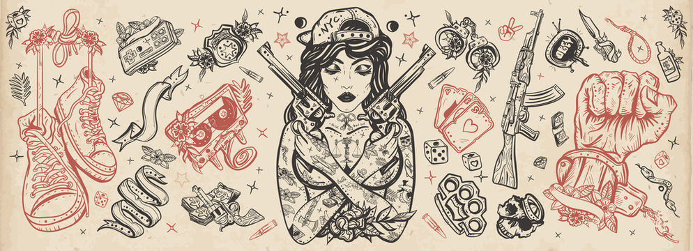 Criminal street culture. Bad girl and crossed guns, handcuffs, audio cassette. Swag. Hip-hop lifestyle. Cool gangster tattooed woman in baseball cap. Crime favela. Old school tattoo vector collection
