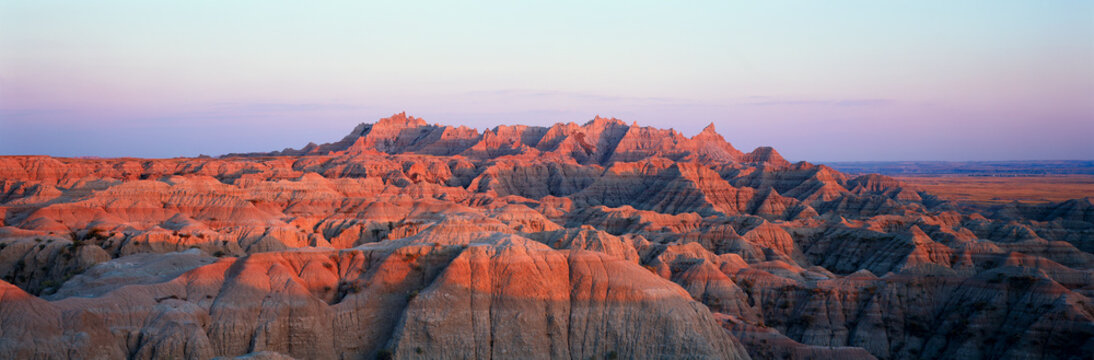 Sunset panoramic view of mountains in Badlands National Park in South Dakota